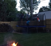 Trampoline and Bonfire