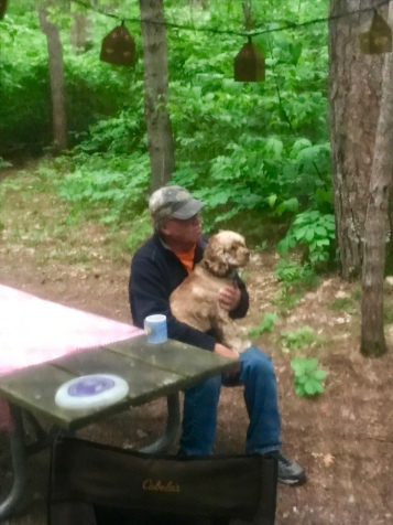 Grandpa enjoying his morning coffee with Moose